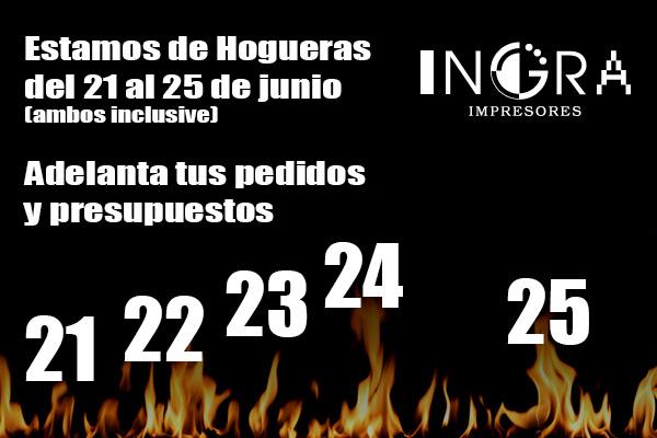 Estamos de Hogueras del 21 al 25 de Junio