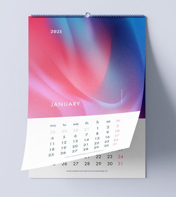 calendario de pared wire-o con colgador